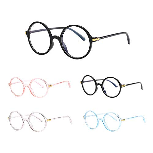 Tuscom Blue Light Blocking Glasses Anti Blue Ray Glasses Oversized Round Circle Sunglasses Nerd Eyeglasses Frame (Blue) by Tuscom@ (Image #7)