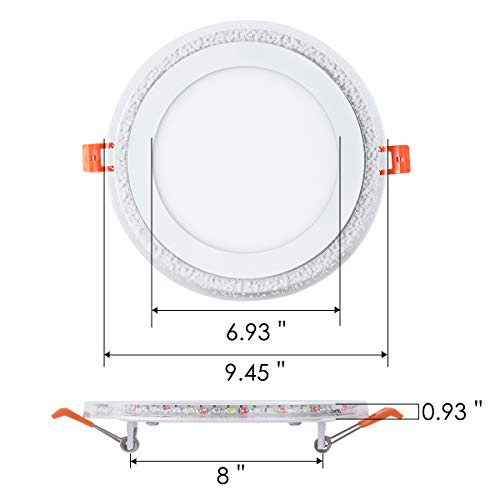 8 Inch Remote Control RGB LED Color Changing Recessed Ceiling Round Panel Lights, Cool White 6500k+ RGB Ultra Thin with Driver, AC100-240V 18+6W, Office, Home, Commercial Lighting Pack of 5 by zhaosheng (Image #4)