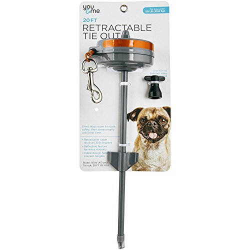 (You & Me Medium Retractable Tie Out, 20' L, For Dogs up to 50 LBS)