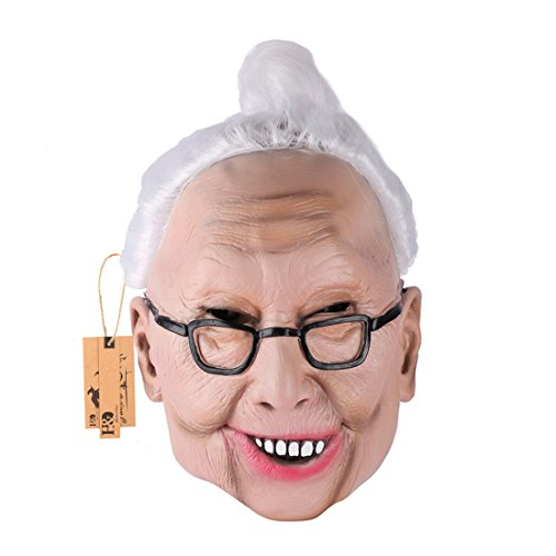 [YUFENG Halloween Masquerade Party Old Man Head Latex Masks Perfect for Halloween Costumes and Cosplay (Kindly old woman] (Anonymous Man Costume)