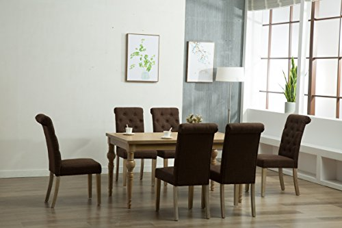Oliver Smith - Roosevelt Collection - 7 Piece Dining - Table and 6 Chairs - Dinette Table Linen Chairs Set Antique Washed Oak 150263darkbrown