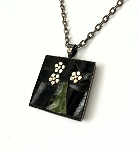 Daisy Flowers in Vase Stained Glass Mosaic Pendant Necklace, Black and Green, 24 inch Gunmetal Chain