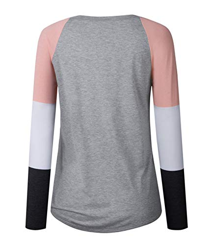 Shirts Pulls Printemps Casual Sweat Automne Jumpers Chemisiers Tops Femmes Rond Patchwork Col Shirt Blouses Longues T Mode Gris Shirts Legendaryman Tee Hauts Manches wO6vpdwq