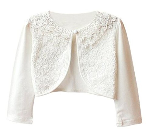 Baby Shrug - Luckyauction Girls' Long Sleeve Lace Bolero Cardigan Shrug White,2-3Y/tag100