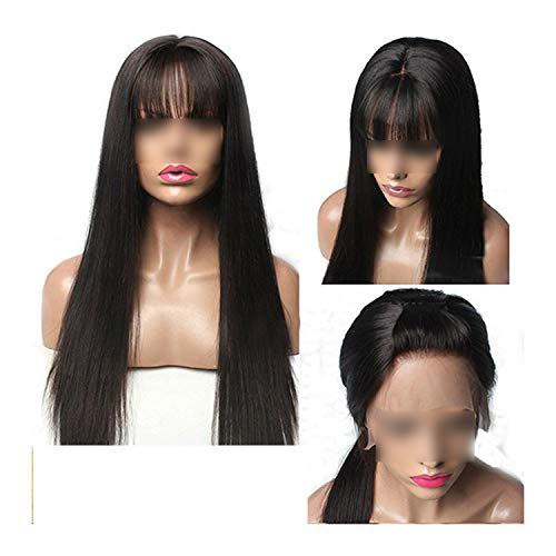 Carrie 13X6 Lace Front Human Hair Wigs With Bangs For Black Women Remy Brazilian Human Hair Lace Front Wig Pre Plucked Bang,Natural Color,10Inches