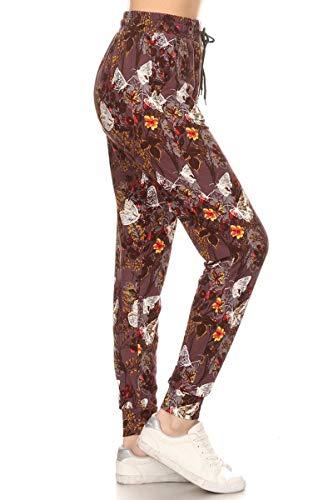 Wood Wood Clothing - Leggings Depot JGA-S684-L Wood White Butterfly Print Jogger Pants w/Pockets, Large