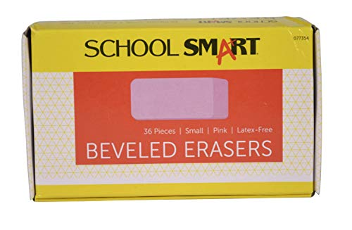 (School Smart Beveled Erasers, Small, Pink, Pack of 36)