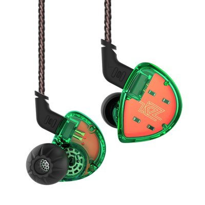 Dual Driver High Fidelity Earbuds, KZ ES4 Hybrid Extra Bassy In-Ear Headphones (Green without Mic)