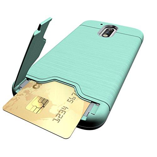 Trumpshop Smartphone Carcasa Funda Protección para Motorola Moto G4   Moto G4 Plus + Azul Profundo + Fina de PC y TPU Silicona Caja Protectora Función de Soporte Ranuras para Tarjetas Verde