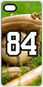 Baseball Sports Fan Player Number 84 White Rubber Decorative iPhone 4/4s Case