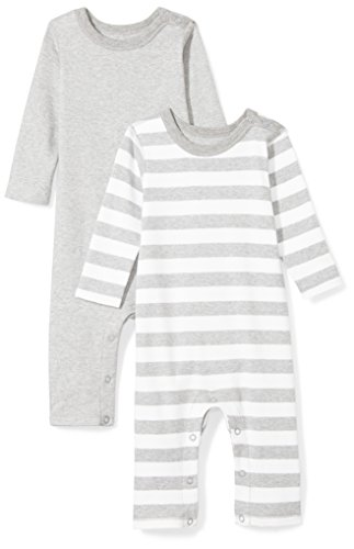 Moon and Back Baby Set of 2 Organic Long-Sleeve Snap-Shoulder Coveralls, Grey Heather, 0-3 Months ()