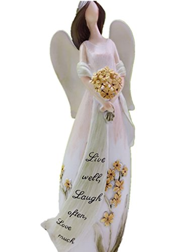 Yunko Angel Figurine Holding Flowers 8.5-Inch Live Well Birthday Wedding Mother's Day Gift