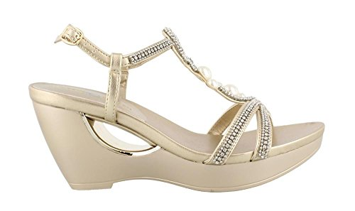 Andrew Geller Womena, Allisandra Wedge Sandalen Goud