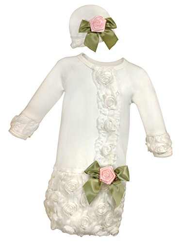 Stephan Baby Girl's Night Out Gown and Cap Set, White, 0-3 Months