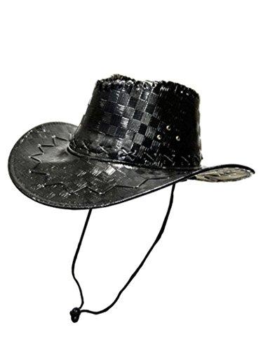 Chapeau de cowboy en cuir synthétique marron foncé
