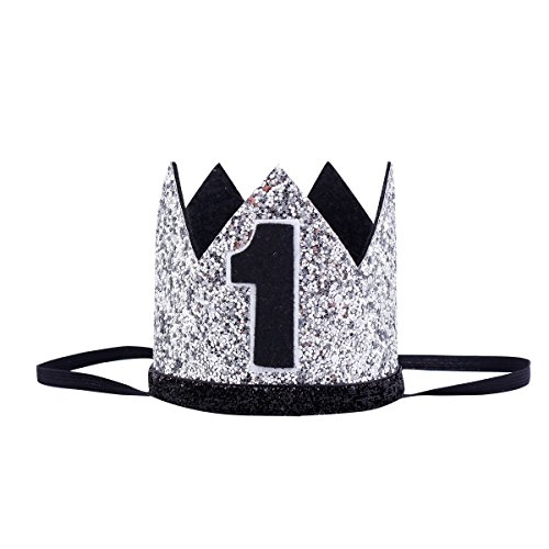 Floral Fall Baby Girl and Boy 1st Birthday Hat Photo Prop Sparkly Gold Crown Elastic Headbands HG-05 (zSliver Black (1st Birthday Hat)