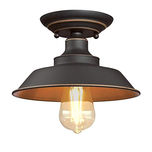 - Westinghouse Lighting 6370100 Iron Hill 9-Inch, One-Light Indoor Semi Flush Mount Ceiling Light, Oil Rubbed Bronze Finish with Highlights
