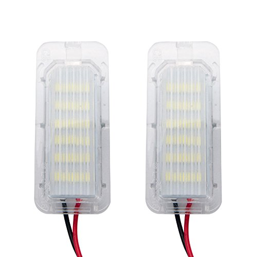 NATGIC 2 pieces 18 SMD White 6000K LED Bulb License Number Plate Light Lamps CanBus Error Free