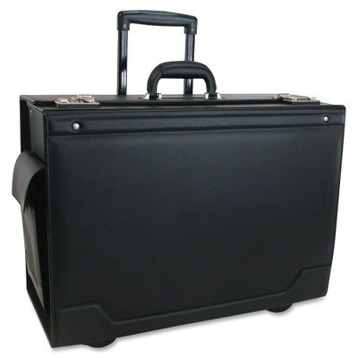 STEBCO 341626BLK Wheeled Catalog Case, Leather-Trimmed Tufide, 21-3/4 x 15-1/2 x 9-3/4 Inches, Black