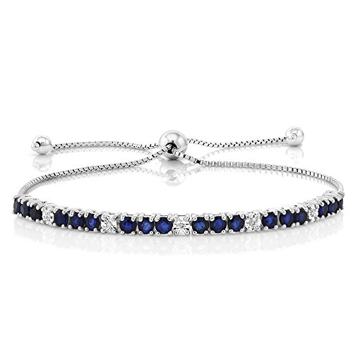 2.05 Cttw Blue Sapphire & White Diamond 925 Sterling Silver Adjustable Bracelet