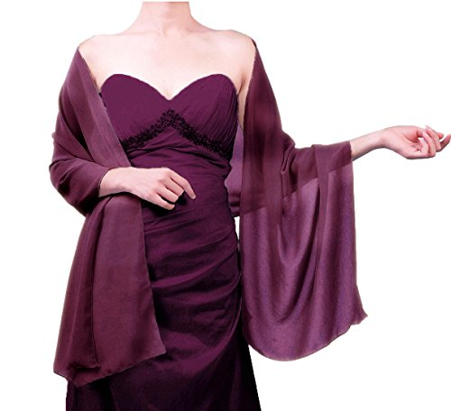 "Sheer Soft Chiffon Bridal Women's Shawl For Special Occasions Grape Purple 79"" Long 20"" Wide"