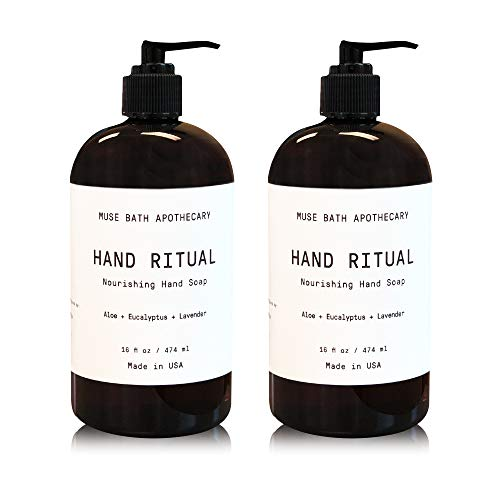 Muse Bath Apothecary Hand Ritual - Aromatic and Nourishing Hand Soap, 16 oz, Infused with Natural Essential Oils - Aloe + Eucalyptus + Lavender, 2 Pack
