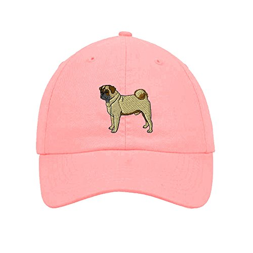 (Speedy Pros Pug Embroidery Twill Cotton 6 Panel Low Profile Hat Soft Pink)