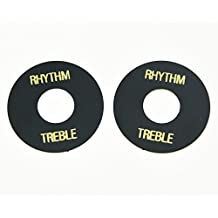 KAISH 2pcs Black w/ Gold LP Guitar Toggle Switch Washer Plate Rhythm Treble Ring for Les Paul