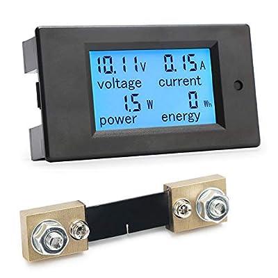 Digital Multimeter, DROK DC Meter 6.5-100V 100A LCD Display Voltage Current Power Energy Meter 12V 24V 36V 48V 60V 72V Voltmeter Ammeter Volt Amp Watt Tester with 100A Current Shunt