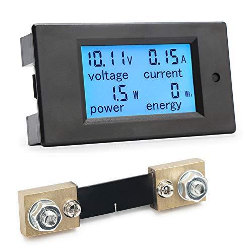 Digital Multimeter, DROK DC Meter 6.5-100V 100A LCD Display Voltage Current Power Energy Tester 12V 24V 36V 48V 60V 72V Voltmeter Ammeter Volt Amp Meter Watt Detector with 100A Current Shunt (An Ammeter And A Voltmeter Of Suitable Ranges)