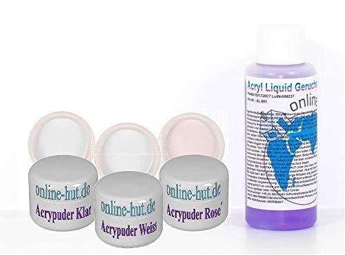 online-hut Acryl Puder/Pulver 3 x 5ml klar, weiß, rose´ + 100ml Acryl Liquid im Set weiß