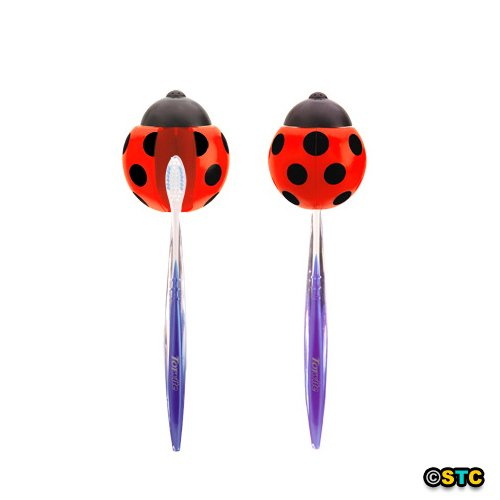 SeasonsTrading Ladybug Toothbrush Holder with Suction Cups ~ Fun Toothbrush Holder