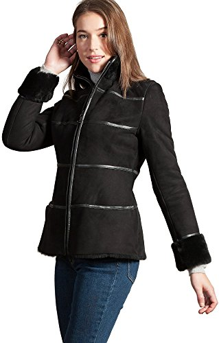 Jordan Spanish Shearling Sheepskin Coat, Black,