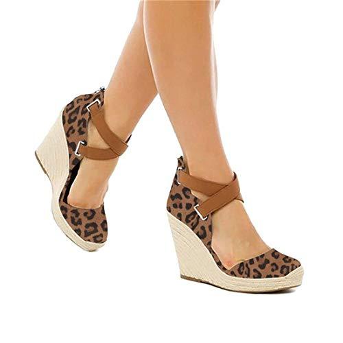 PiePieBuy Womens Espadrille Wedges Ankle Strap Closed Toe Heeled Sandals (8 B(M) US, Leopard)