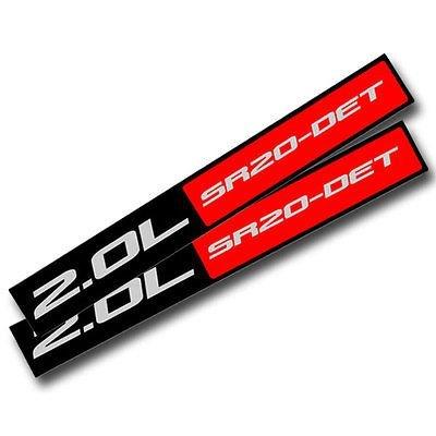 2X Black/Red Metal 2.0L Sr20det Engine Race Motor Swap Badge For Trunk Hood Door for Nissan 200SX
