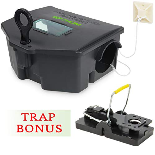 GPTHOM Exterminator Mouse Bait Station with Mouse Trap Bonus | Rat Bait Station with Key, Window and Fastening System - Mice Bait Box for Outdoors and Refillable