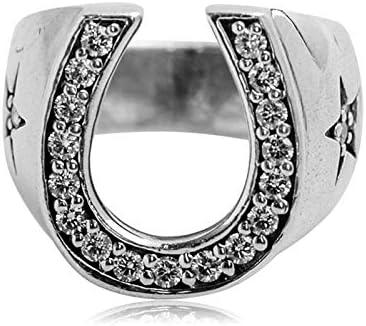 Beydodo 925 Silber Ring für Männer Hufeisen Form Zirkonia Freundschaftsring Silber