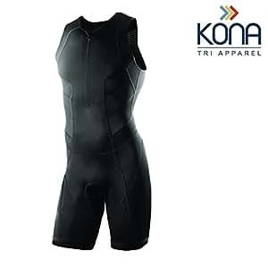 Kona Mens Triathlon Race Suit - Speedsuit Skinsuit Trisuit Sleeveless - One-Piece Vest and Short Combo That Half zips with a Rear Pocket for Storage