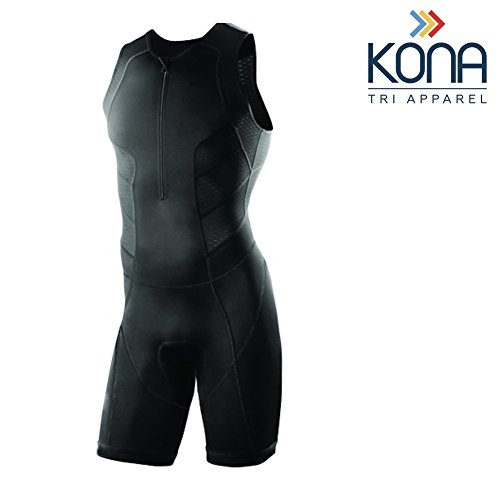 (Men's KONA Triathlon Race Suit - Wet suit Skin suit Tri suit Sleeveless - One-piece vest and short combo that half zips with a rear pocket for storage (Black, Medium))
