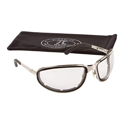 PiWear® Orlando Vollmetall Motorradbrille mit selbsttönenden Gläsern Federscharnieren Silber/Chrome