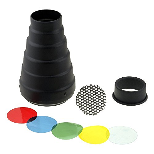 Fotodiox Snoot with 20 Degree Grid & 4 Color Gels for Balcar, Paul C Buff (AlienBees, Einstein, etc.) Lights