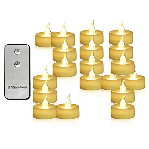 Youngerbaby 24 Pack Battery Operated Tea Lights with Remote Flickering Warm White Led Tealights Mini Flameless Candles Indoor Outdoor Wedding Centerpieces Decor Birthday Party Thanksgiving - 1.4 Inch ()