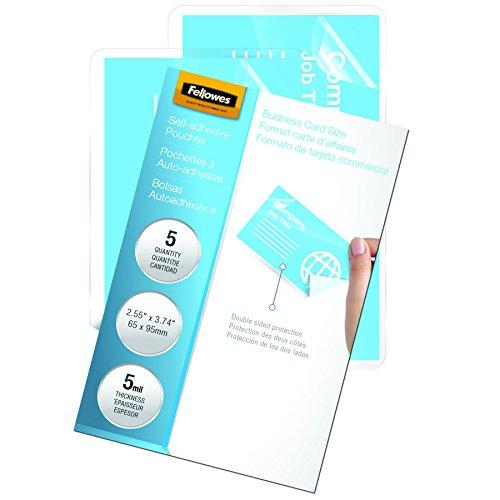 [Fellowes Laminating Sheets, Self Adhesive, Business Card Size, 5 Mil, 5 Pack (5220101)] (Self Adhesive Laminating Pouch)