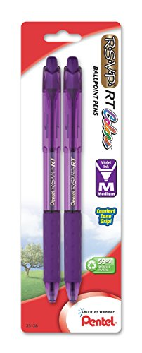 Pentel RSVP RT Colors Retractable Ball Point Pen, Medium Line, Violet Barrel, Pack of 2 (BK93CRBP2V) (Violet Pentel Rsvp)