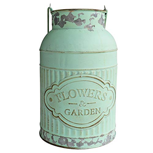 (HyFanStr Shabby Chic Green Painted Milk Can Style Metal Vase Flower Pitcher Jug Pot)