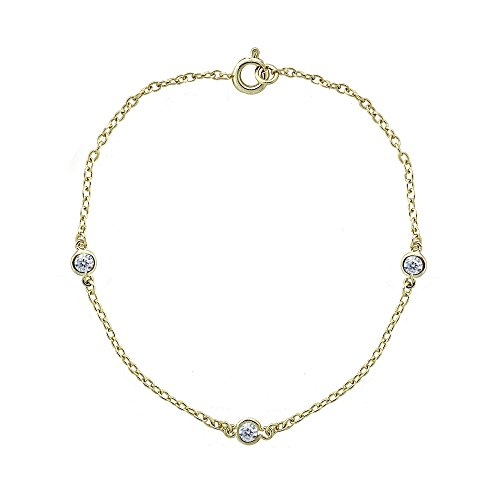 Yellow Gold Flashed Sterling Silver Cubic Zirconia Station Dainty Chain Bracelet