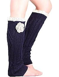 Soft knit Knee High Boot Cuffs Leg warmers with handmade flower Lace trim
