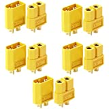 INIBUD 5 Pairs XT60 Male Female Bullet Connectors Plugs for RC Drone Lipo Battery