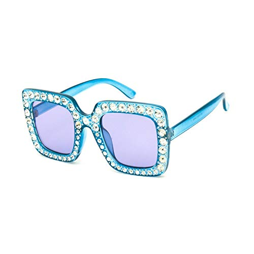 Elite Oversized Square Frame Bling Rhinestone Crystal Brand Designer Sunglasses For Women 2018 (Light Blue, 52) (Blue Rhinestone)