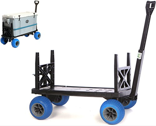 t Box Carrier Wagon with on Wheels Igloo Yeti Coleman Pelican Grizzly Hauler (Blue Wheels) ()